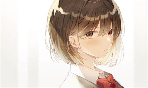 Blush, short hair, brunette, face, Hiiragi Souren, brown ... - anime girl with short brown curly hair and brown eyes