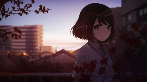 Anime Wallpaper 1920x1080 anime girls, short hair, tree ... - aesthetic anime girl with brown hair short
