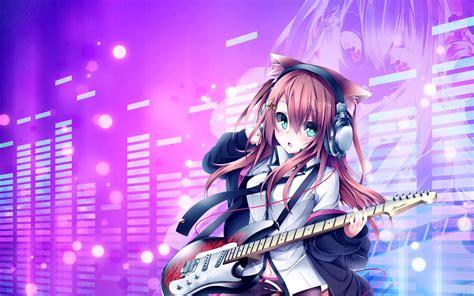 [49+] Anime Gamer Girl Wallpapers on WallpaperSafari - brown hair beautiful anime girl playing guitar