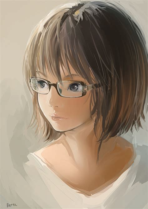 Anime picture original batta (kanzume quality) single tall ... - girl anime characters with short brown hair and glasses