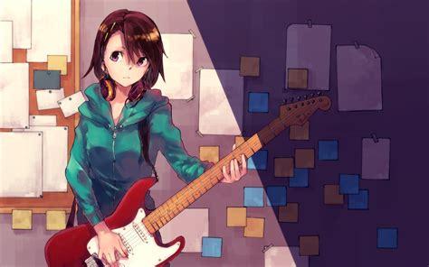 Brown hair guitar headphones hitomai instrument original ... - brown hair beautiful anime girl playing guitar