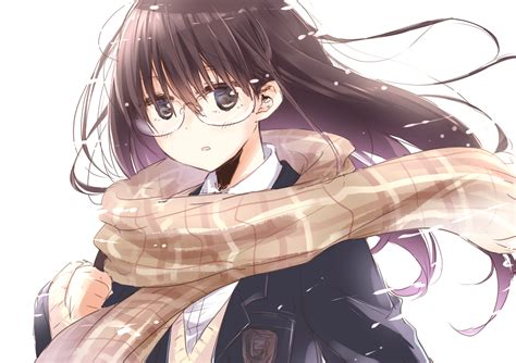 Anime Original Black Eyes Brown Hair Long Hair Glasses ... - long hair beautiful anime girl with black hair and brown eyes