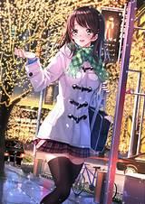 Anime, Girl, Beautiful, Bike, Blush, Brown, Eyes, Brown ... - brown hair beautiful anime girl