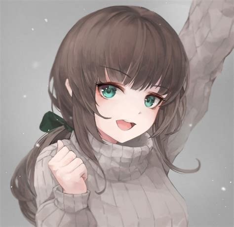 Wallpaper Anime Girl, Sweater, Brown Hair, Green Eyes ... - aesthetic anime girl with brown hair and green eyes