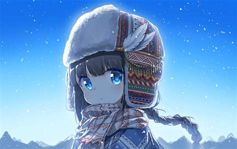 Download 1915x1207 Anime Girl, Cute, Blue Eyes, Braid ... - cute anime girl pfp brown hair blue eyes