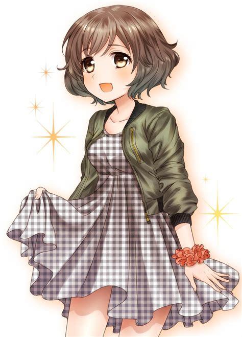 1girl akiyama_yukari black_dress blush brown_eyes brown ... - cute anime girls with curly brown hair
