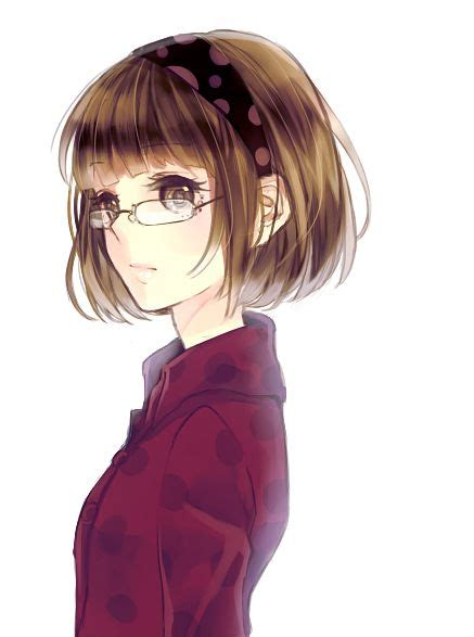 1000+ images about Short hair/French chic inspiration on ... - girl anime characters with short brown hair and glasses