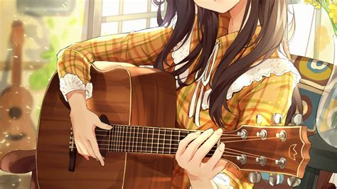 Download 3840x2160 Anime Girl, Playing Guitar, Instrument ... - girl playing guitar brown hair beautiful cute anime girl