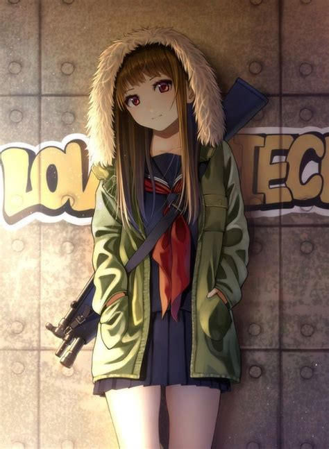 Tomboy Mask Hoodie Long Hair Tomboy Cute Anime Girl With ... - brown eyes tomboy anime girl with black hair