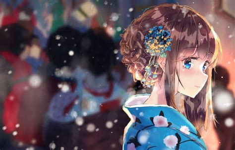 Brown Hair, Anime, Cute, Blue Eyes, Girl, Smile, Kimono ... - cute anime girl light brown hair blue eyes