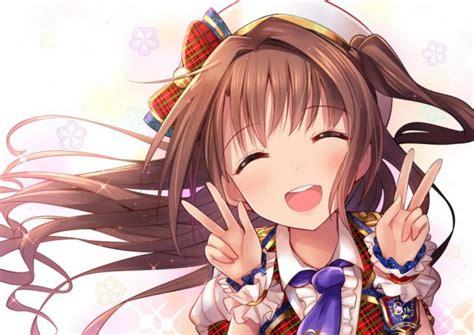 Konachan com - 256430 blush bow brown hair close hat ... - ponytail anime girl dark brown hair