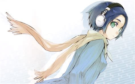 Headphones blue hair headphones girl green eyes short hair ... - shy anime girl with short brown hair and brown eyes