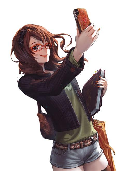Brown hair anime girl glasses phone render png by ... - brown anime girl hair png