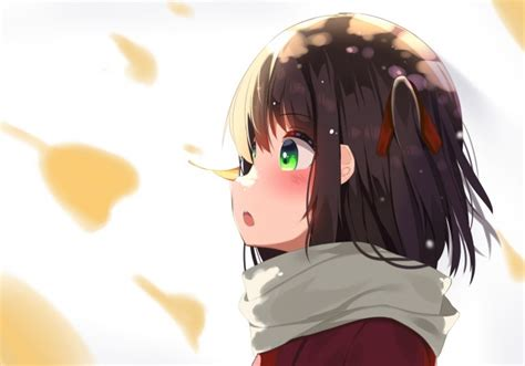 Download 600x800 Anime Girl, Scarf, Brown Hair, Profile ... - anime girl with short light brown hair and green eyes
