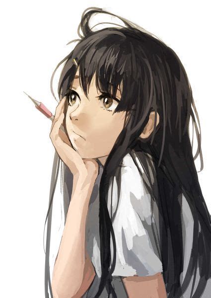 """Hmmmm...please guys give me a drawing request I'm sooo ... - anime girl with black hair and brown eyes aesthetic"