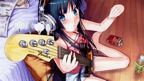 Fender 1080P, 2K, 4K, 5K HD wallpapers free download ... - girl playing guitar brown hair beautiful cute anime girl