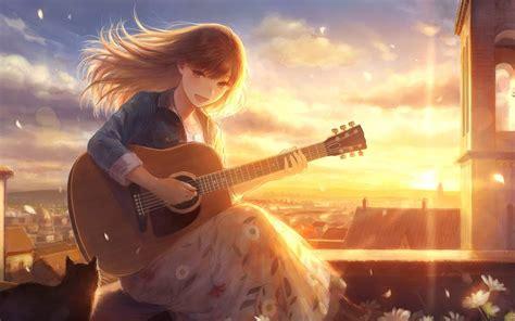 Download 1680x1050 Anime Girl, Singing, Sunlight, Guitar ... - brown hair beautiful anime girl playing guitar