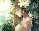 Long hair, Brunette, Green eyes, Anime, Anime girls ... - brown hair hair blue eyes brown hair flower crown cute anime girl