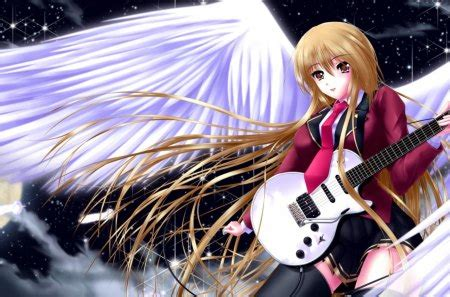 Angel Musician - Other & Anime Background Wallpapers on ... - girl playing guitar brown hair beautiful cute anime girl