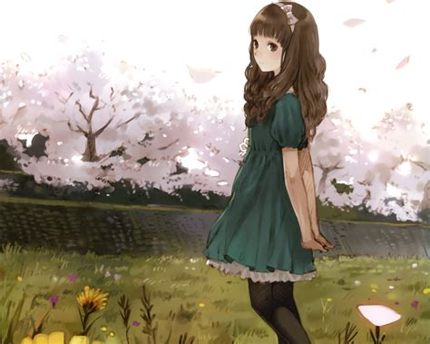 Bow brown eyes brown hair cherry blossoms cropped dress ... - aesthetic anime girl with brown hair and green eyes