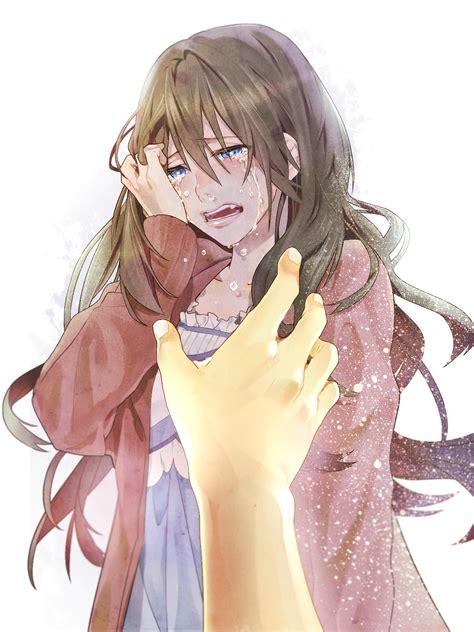Beautiful Sad Anime Girl Crying with Brown Hair and Blue ... - aesthetic anime girl with brown hair sad
