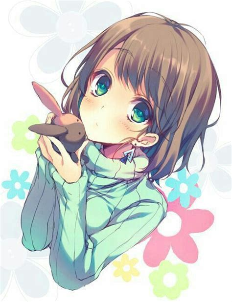 Image result for anime girl green eyes brown hair  face ... - anime girl with short light brown hair and green eyes