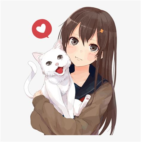 Brown Hair Anime Catgirl Drawing - Anime Girl With Cat Png ... - brown hair flower crown cat brown eyes brown hair flower crown cat cute anime girl