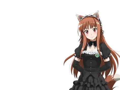 Animal ears brown hair dress horo long hair ookami to ... - brown hair cute anime girl with wolf ears