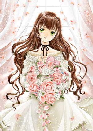 Top 181 ideas about Art on Pinterest  Long black hair ... - brown hair green eyes brown hair flower crown cute anime girl