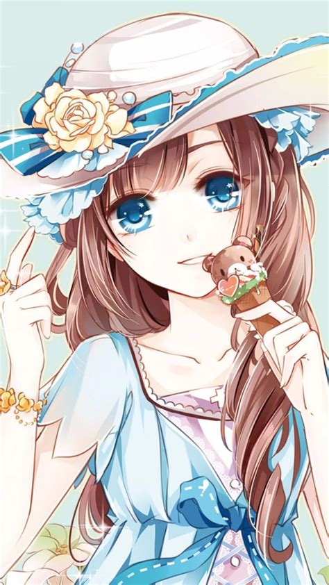 # kawaii anime girl #brown hair #blue eyes # cute  Kawaii ... - cute anime girl light brown hair blue eyes