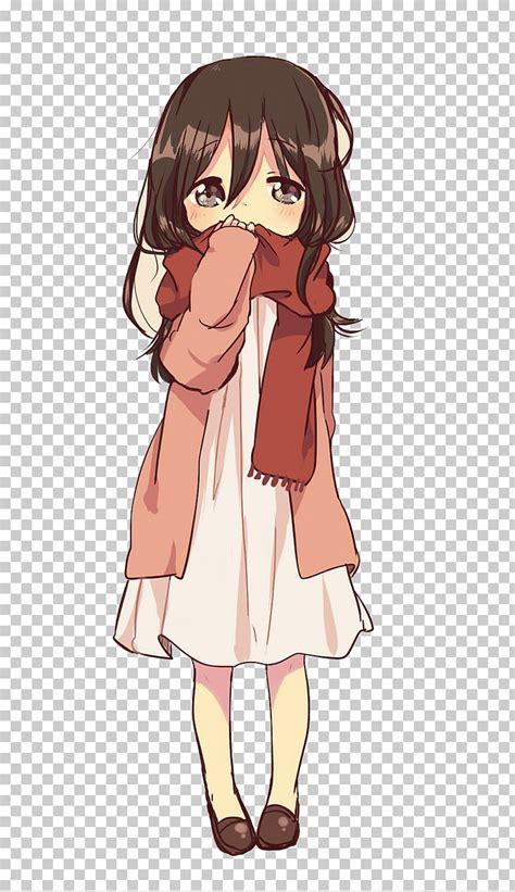 Personaje de anime de niña de cabello negro, anime dibujo ... - anime girl drawing colored brown hair