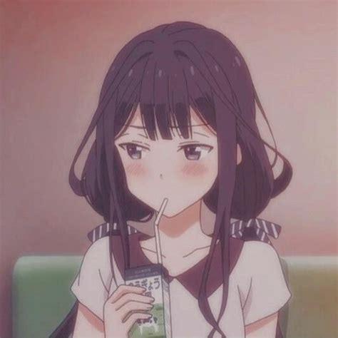 Pin on ·⁀ a n i m e i c o n s. - aesthetic anime girl with brown hair sad