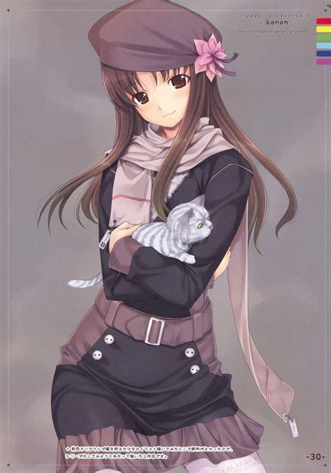 Belt beret brown_eyes brown_hair buttons coat flower hat ... - brown hair cat brown hair flower crown cute anime girl