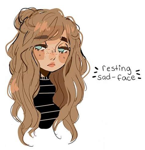 Pin de Nia em Matching Icons  Desenhos de rostos ... - aesthetic anime girl with brown hair sad