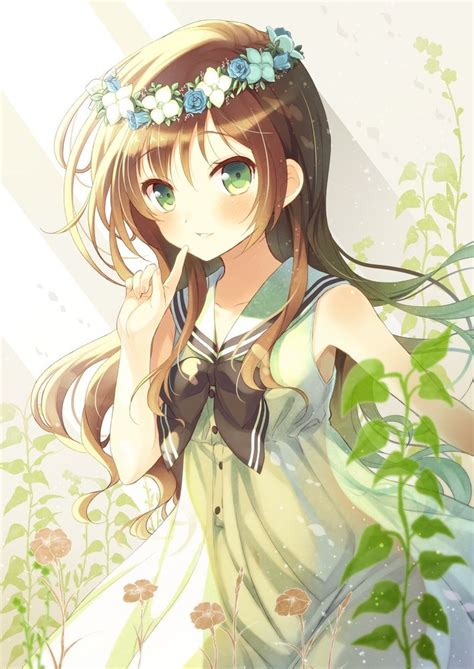 Flower Crown - Anime Girls Picture (154755) - brown hair green eyes brown hair flower crown cute anime girl