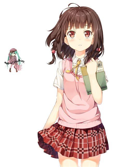 Anime Girl Render by Mali-N on DeviantArt - brown anime girl hair png