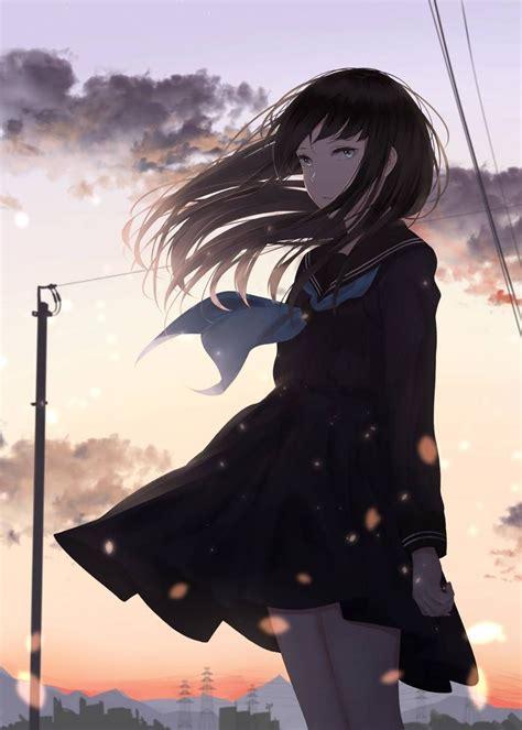 Pin on 美圖 - aesthetic anime girl with brown hair sad