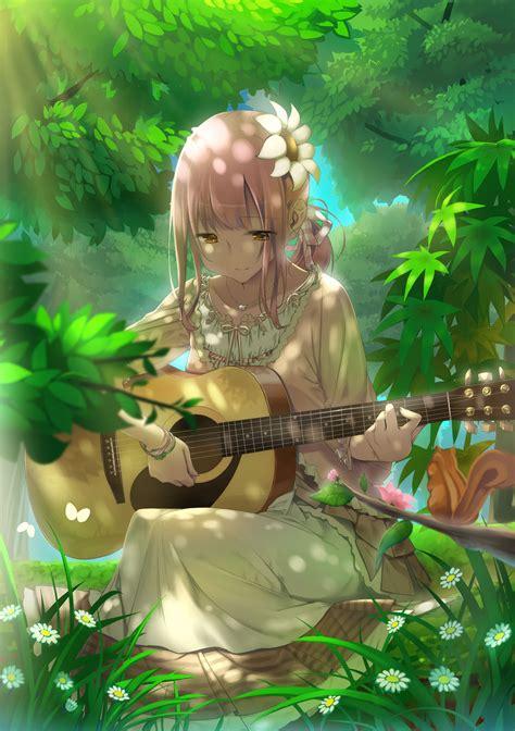 ผลการค้นหารูปภาพสำหรับ guitar và em  ศิลปะคาแรคเตอร์, อะ ... - brown hair beautiful anime girl playing guitar