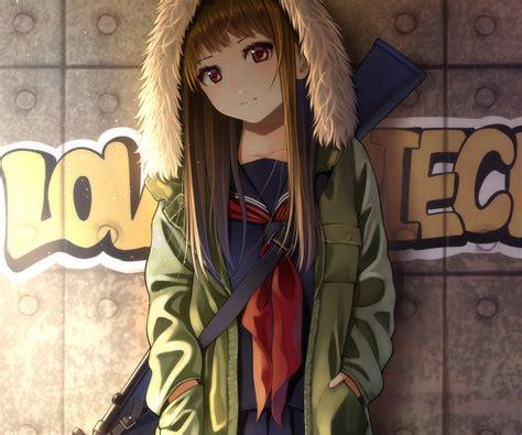 Brown hair cropped graffiti gun hoodie kentaurosu long ... - anime girl brown hair brown eyes hoodie