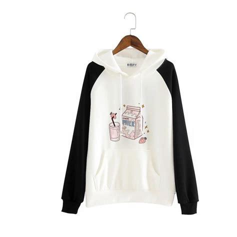 Japanese Kawaii Strawberry Milk Hoodie Sweater SD00998 ... - brown hair sweater blue eyes brown hair sweater cute anime girl