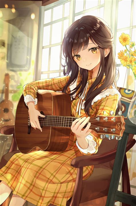 Pin on Anime Photo - girl playing guitar brown hair beautiful cute anime girl