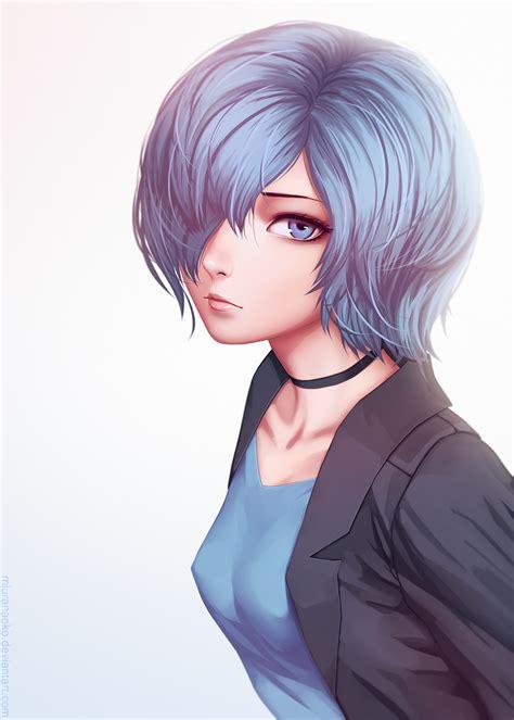 Wallpaper : face, illustration, long hair, anime girls ... - cute anime girl short brown hair blue eyes