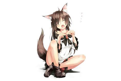 Animal ears blush boots fang gorilla (bun0615) imaizumi ... - brown hair cute anime girl with wolf ears