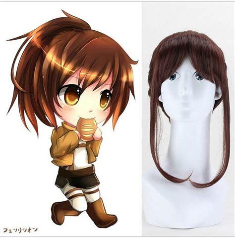 Full Synthetic Wigs Attack On Titan Sasha Burrows 45CM ... - ponytail anime girl dark brown hair