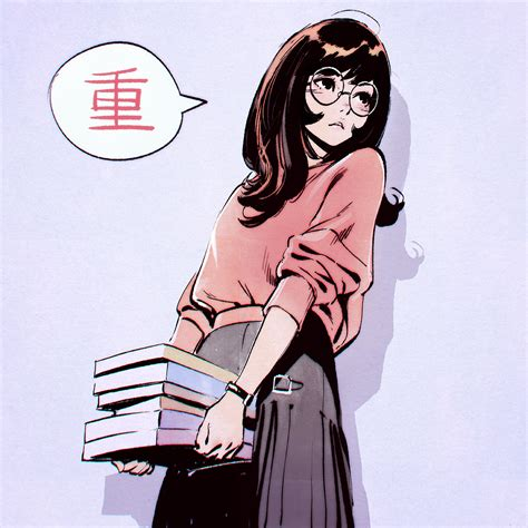 Anime picture original kr0npr1nz long hair single blush ... - aesthetic anime girl pfp brown hair and glasses