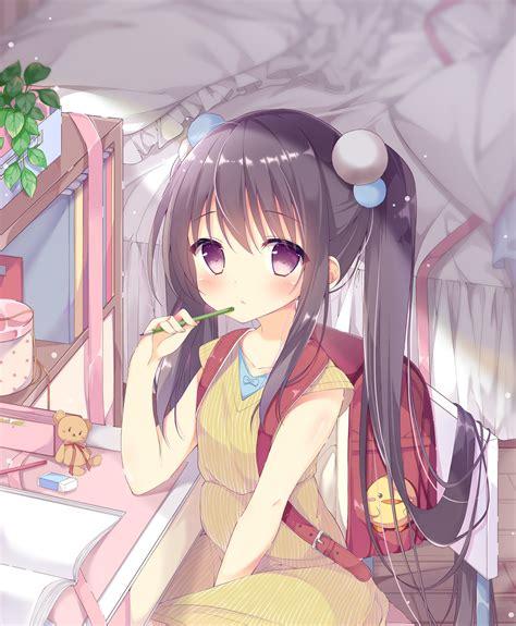 Download 2869x3484 Anime Girl, Loli, Cute, Brown Hair ... - kawaii brown hair beautiful cute anime girl