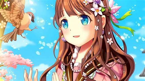 Birds cute anime girls long hair brunette blue eyes ... - brown hair kawaii cute anime girl blue eyes