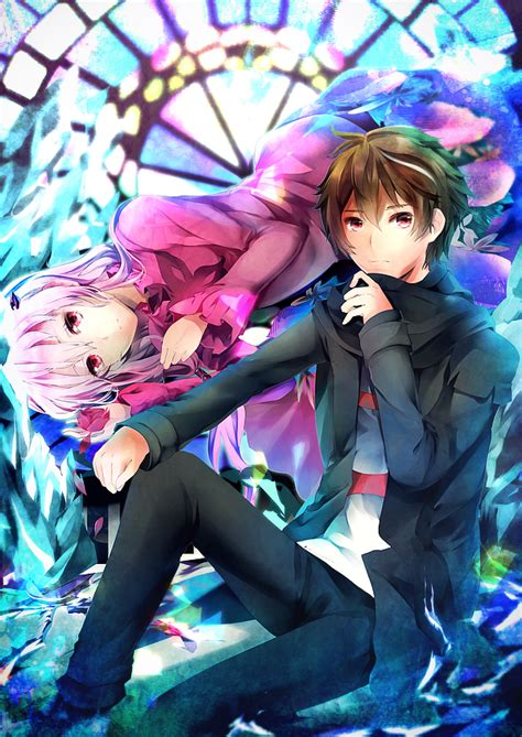 Anime picture guilty crown production i.g yuzuriha inori ... - brown hair flower crown cat brown eyes brown hair flower crown cat cute anime girl