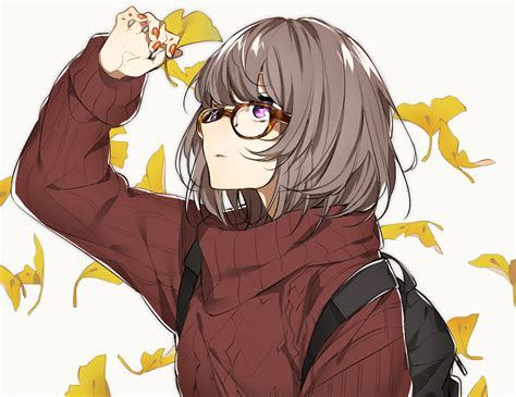 Autumn brown hair glasses leaves original purple eyes ... - anime girl with black hair and brown eyes aesthetic